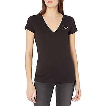 True Religion Camo Horseshoe Slim Vneck T-Shirt, Black, L Woman