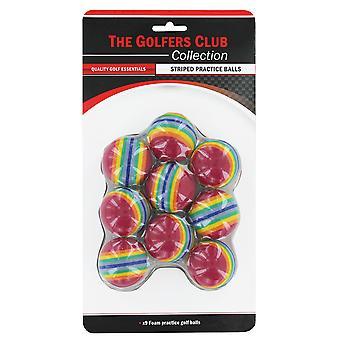Golfers Club Stripe Soft Practice Golf Balls pack 9