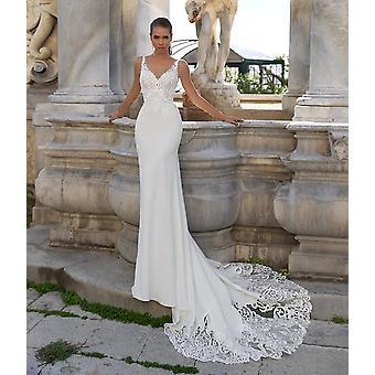 Novo vestido de noiva de sereia de gola V dupla