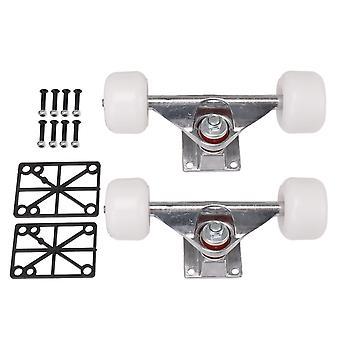 2 stuks skateboard vervanging PU wielen combinatie sets wit en zilver