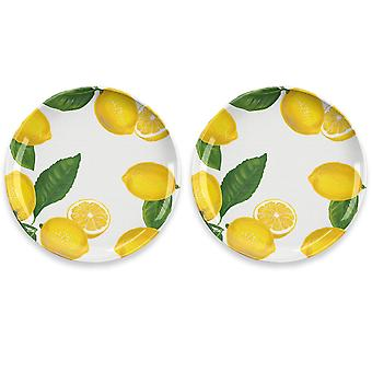 Epicurean Lemon Fresh Set of 2 Melamine Dinner Plates
