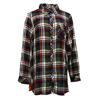 Tolani Collection Women's Top Regular Plaid Tunic Print Back Green A383438