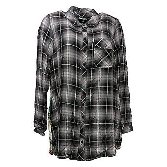 Tolani Collection Women's Top Reg Plaid Tunic with Print Back Black A383438