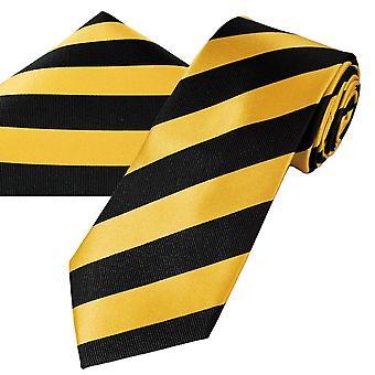 Ties Planet Gold Label Black & Gold Raidallinen Miesten silkki solmio & tasku neliö nenäliina setti