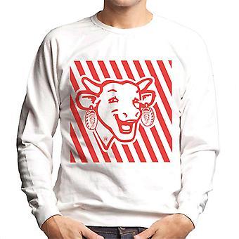 Den grinende Cow Red Stripes Mænds Sweatshirt