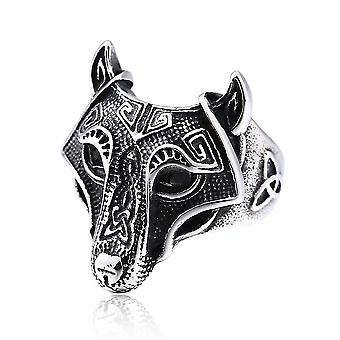 Viking Wolf Head Ring Stainless Steel Finger Ring For Party