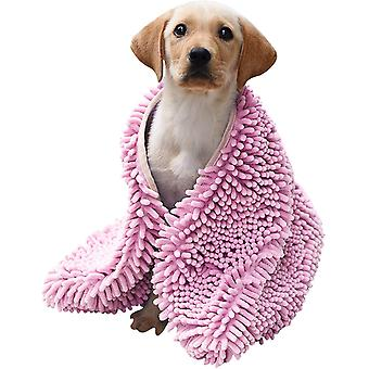 Super Shammy Microfiber Chenille -koirapyyhe käsitaskuilla (vaaleanpunainen)