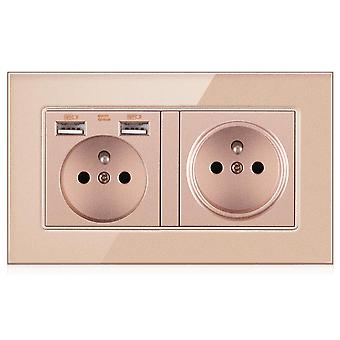 Eu Power Outlets Glass Two-slot Wall Sockets With Pins With 2 Usb Outlets