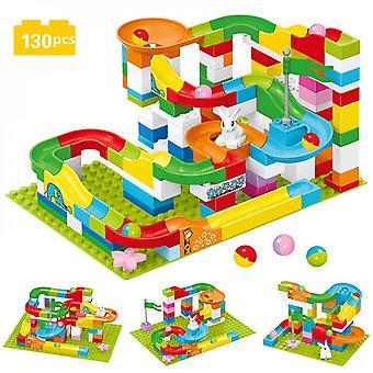 الرخام سباق تشغيل كتلة- سباق كتلة صغيرة المتاهة الكرة المسار كتل البناء، متوافقة مع لبنات البناء دوبلويد لعبة 130 أجزاء