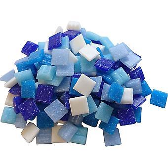 1 Kg Glasmosaik 1x1cm Premium Qualität - ca.1500 Stück Glasmosaiksteine 10x10 Mosaiksteine (Blau