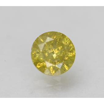 Cert 0,49 Karat Levende Gul SI2 Runde Brilliant Enhanced Natural Diamond 4.97mm
