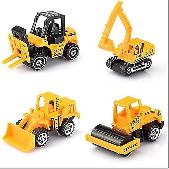 4pcs simulation alloy car, engineering vehicle, excavator, bulldozer, children's toy car Set