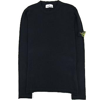 Stone Island 502b0 Fin stickad tröja Svart V0029