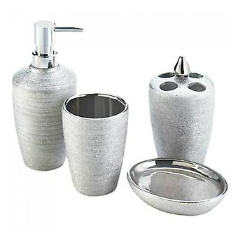 Accent Plus Shimmery Silver Bath Accessory Set, Pack of 1