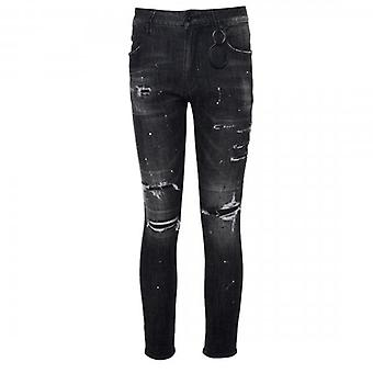 Amicci Gianni Skinny Fit Stretch Washed Charcoal Grey Denim Rip & Repaired Jeans
