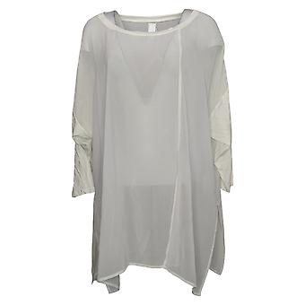 WynneLayers Women's Plus Top Mixed Media Dolman-Sleeve Tunic White 694604