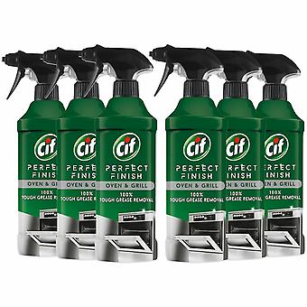 Cif Perfect Finish Oven & Grill 100% Grease Removal Spray, 6 Packs of 435ml