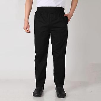 Men Chef Pant Restaurant Uniforms Work Wear Costumes Black