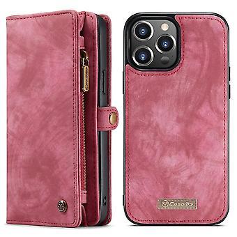 CASEME iPhone 13 Pro Retro Wallet Funda - Rojo