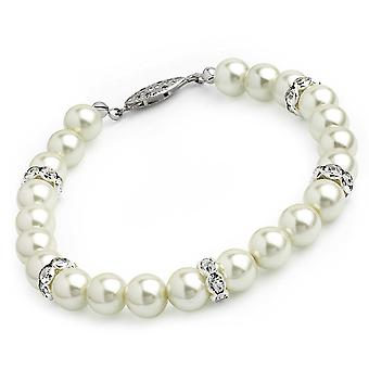 Cream Colour Faux Pearl Beads & Glass Crystal Bracelet