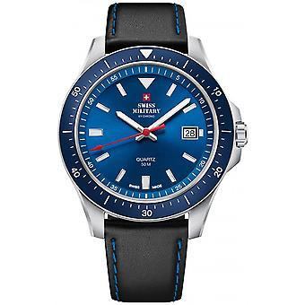 Reloj suizo Military By Chrono Blue Genuine Leather SM34082.05 para hombre