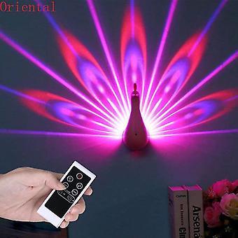 Luz de pared led pavo real lámpara de proyección control remoto hogar decro ambiente romántico colorido