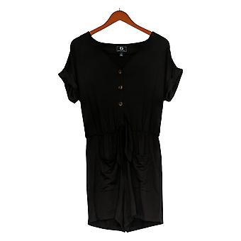 G by Giuliana Women's Romper Reg Day Tripper Short-Sleeve Black 745943