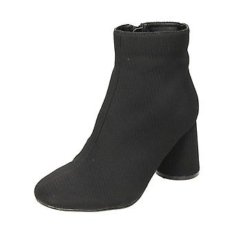Krush Black Ribbed Fabric Heeled Ankle Boots