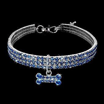 Pet Bone Collar, 3 Reihen Strass Kristall Elastische Halskette (blau-m)