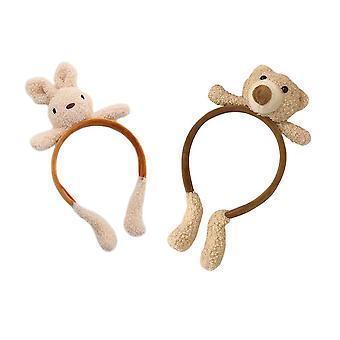 2pcs סרט ראש קטיפה חמוד בעלי חיים דוב וסרטי ראש ארנב