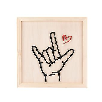 Creative Wooden Crafts Sign Language Love, Background Wall Picture Frame, Love Photo Frame, Decorative Ornaments Pendant, Sculpture Home Living Room B