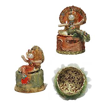Mermaid Mint Green Orange Coral Lidded Box Set of 2 Katherine's Collection