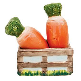 Karotten im Garten Kiste Keramik Salz und Pfeffer Shaker Set