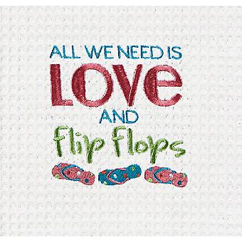 All We Need Is Love and Flip Flops Embroidered Waffle Weave Kitchen Dish Towel