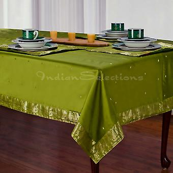 Olive Green - Handmade Sari Tablecloth (India)