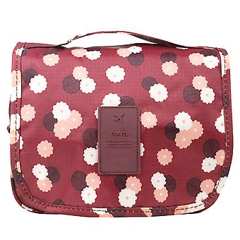 TRIXES Red Floral Compact Storage Hanging Toiletry Bag Various Pockets Travel and Beauty