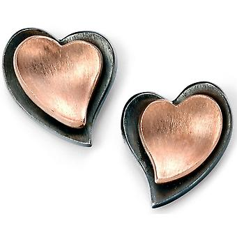 925 Silver Rose Gold Plated Heart Oxidised Earring