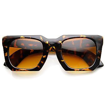 Bold Square Angled Frame Mod Horn Rimmed Sunglasses