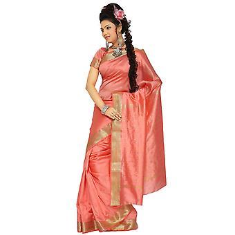 Peach Pink Art silke Saree Sari stof Indien gylden kant