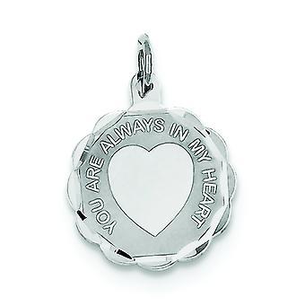 925 sterling silver solid facetterad Gravable polerad tillbaka din alltid i mitt hjärta Disc charm