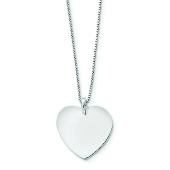 925 Sterling Silver Solid Polished Rhodium plated Engravable (front only) Love Heart With Box Chain 18 Inch Spring Ring