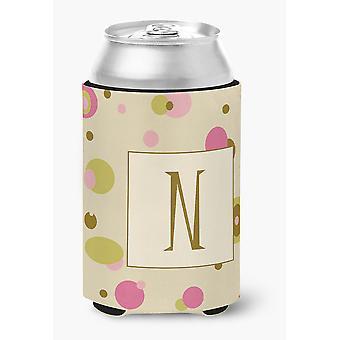 Letter N Initial Monogram - Tan Dots Can or Bottle Beverage Insulator Hugger