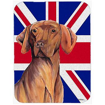 Vizsla with English Union Jack British Flag Glass Cutting Board Large Size