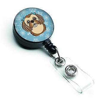 Snowflake Chocolate Brown Shih Tzu Retractable Badge Reel