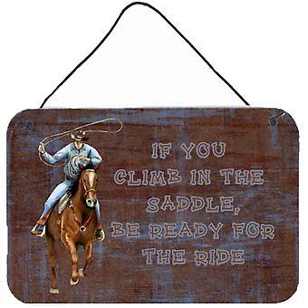 Roper Pferd, wenn Sie in den Sattel steigen werden bereit für die Fahrt Wand oder Tür Hangi