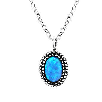 Oval - 925 Sterling Silver Jewelled Necklaces - W27080X
