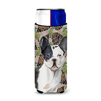 Black White French Bulldog Pine Cones Michelob Ultra Hugger for slim cans