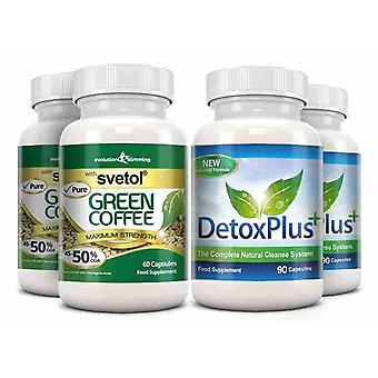 Pure Svetol Green Coffee Bean 50% CGA and Detox Cleanse Pack - 2 Month Supply - Fat Burner and Colon Cleansing - Evolution Slimming