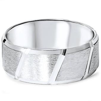 Ανδρικά βουρτσισμένα γαμήλια μπάντα 14K λευκό χρυσό
