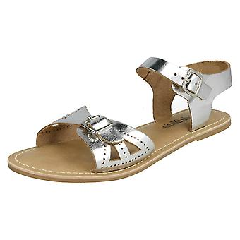 Ladies Leather Collection Flat Buckle Sandals